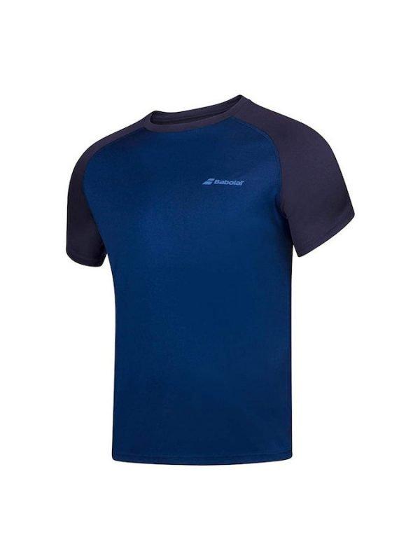 Tennis Apparel (Men) – Babolat Play Crew Neck Training Tee (Dark Blue)