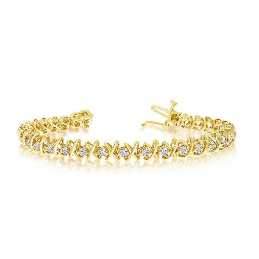 14k Yellow Gold & Diamond XO Tennis Bracelet
