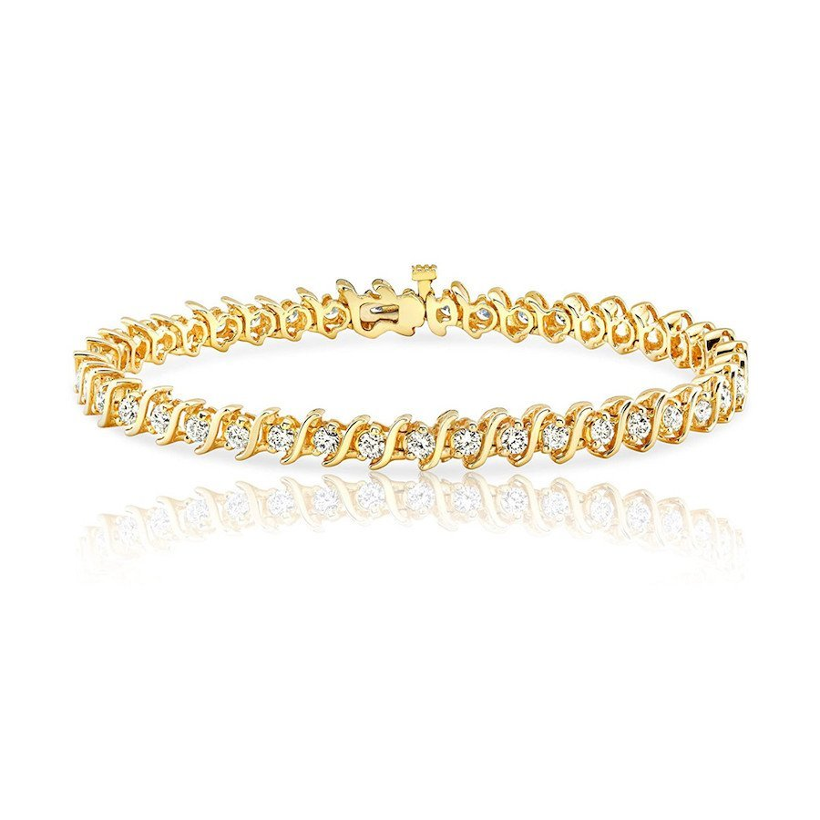 14k Yellow Gold S-Link Diamond Tennis Bracelet