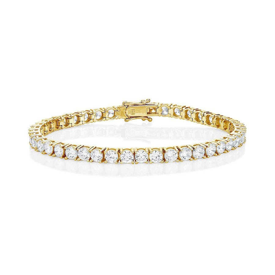 18K Yellow Gold-Plated 925 Sterling Silver tennis bracelet with Sparkling White Cubic Zirconia