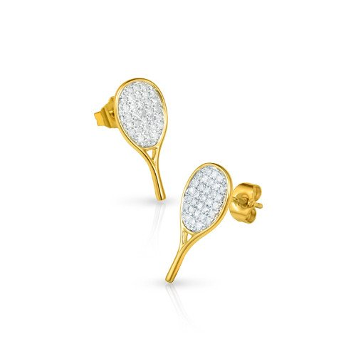 18K racket-shaped gold earrings with 62 small diamonds (TENNIS GIFTS)