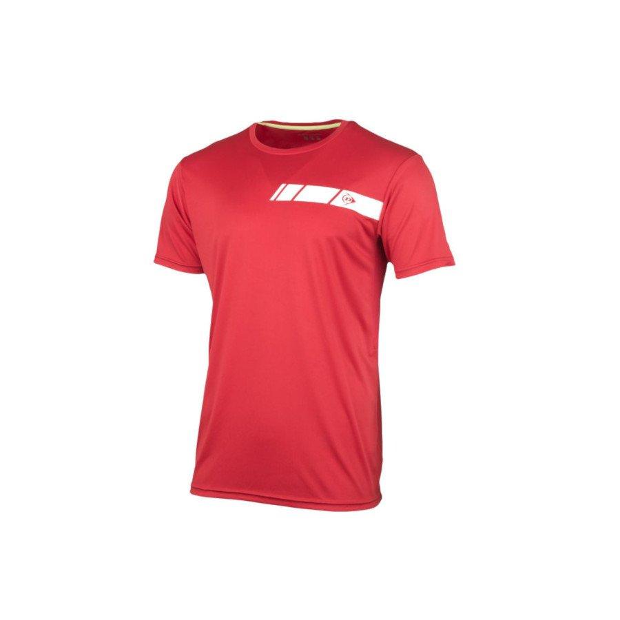 Dunlop Men's Crew Tee Club Line Tennis T-Shirt (Red)