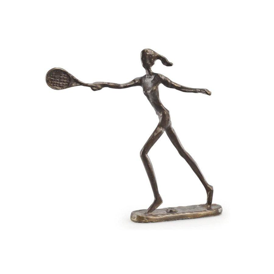 Female Tennis Player Bronze Sculpture Figurine (tennis art)