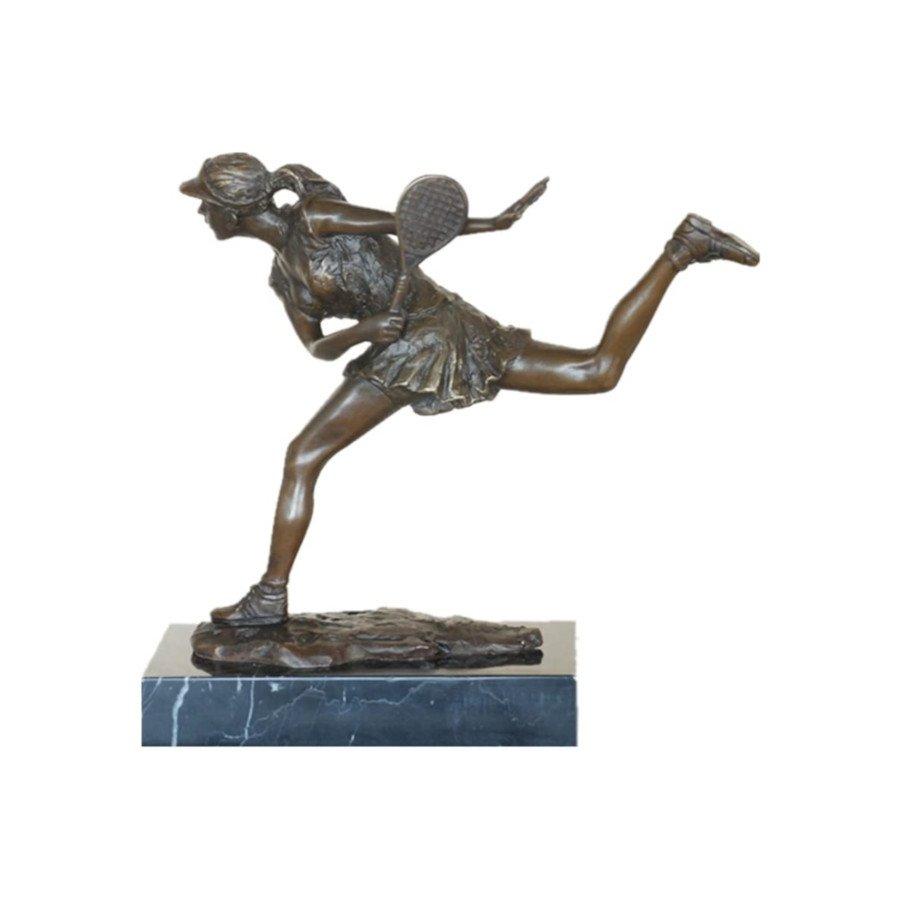 Female Tennis Player Bronze Statue and Sculpture – Handmade Home Decor (tennis art)