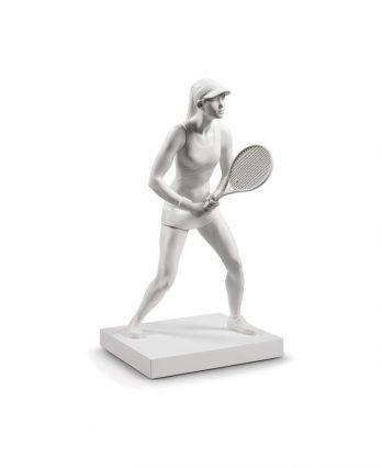Female Tennis Player Figurine in Porcelain (tennis art)