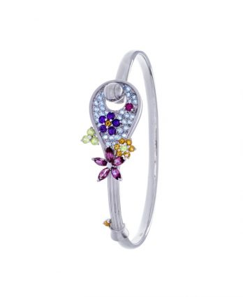 Racket-shaped tennis bracelet (18K white gold with 58 gemstones)