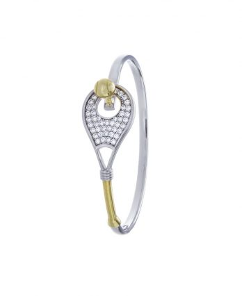Racket-shaped tennis bracelet (solid sterling silver 925, 42 pave set CZs, and 18K yellow gold-plated ball & handle)