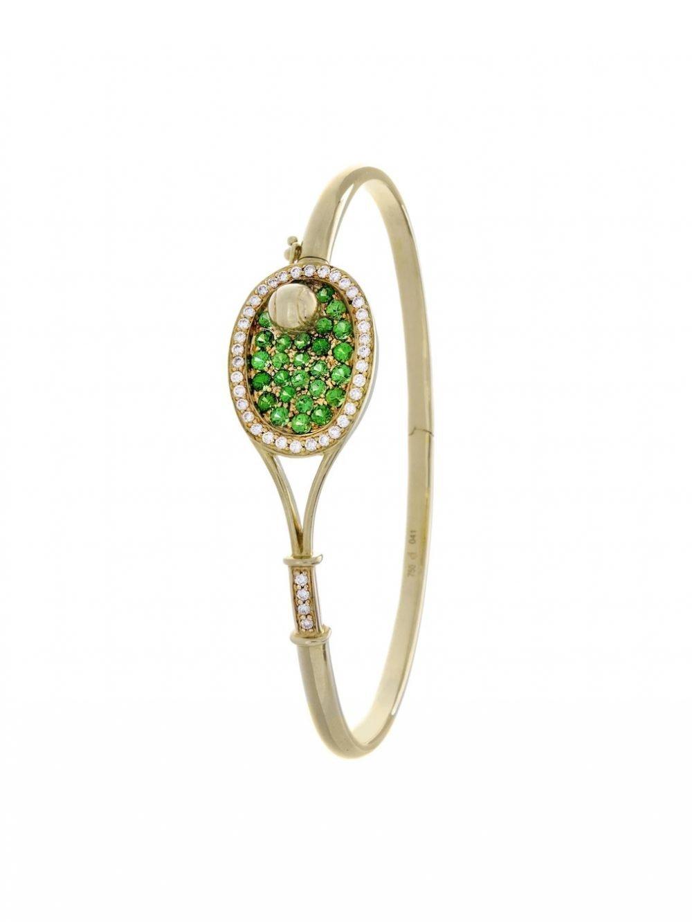 Racket-shaped tennis bracelet & tennis ball (18K solid yellow gold with 25 tsavorite gemstones and 40 diamonds)