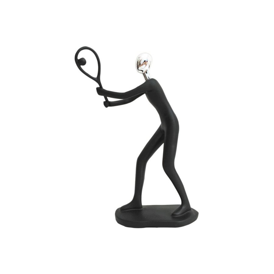 Resin Figurine Male Tennis Player Hitting Forehand Volley (tennis art)