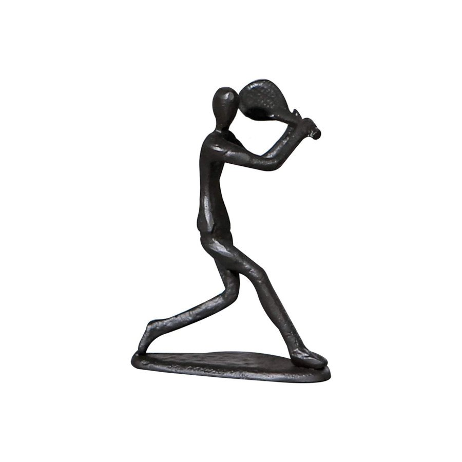 Tennis Player Hitting Backhand Black Figurine Sculpture (TENNIS GIFTS)