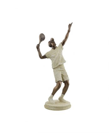 Tennis Player Ornament Figurine – Stone Effect (tennis art)