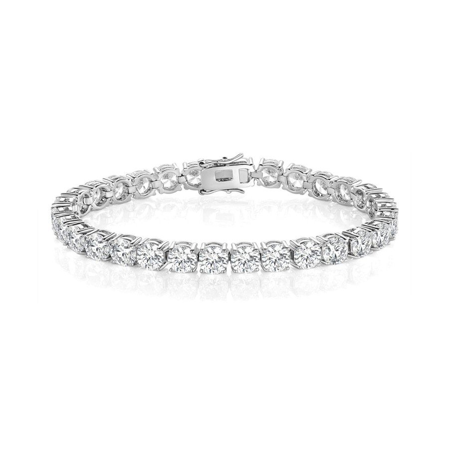 Women's Tennis Bracelet – Cubic Zirconia, 18K White Gold-Plated