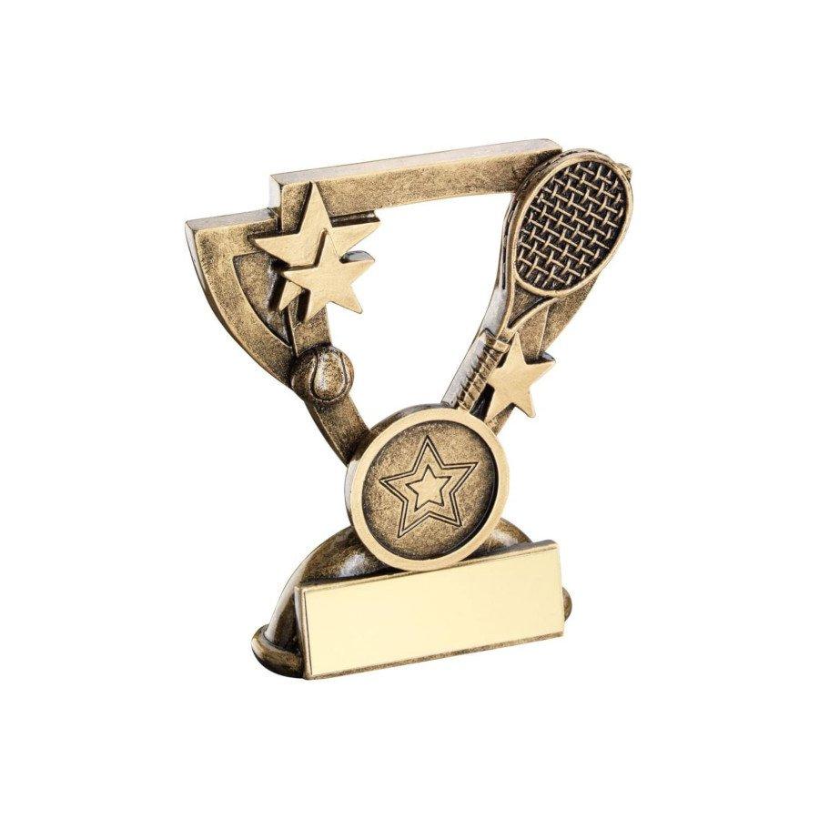 Bronze & Gold Tennis Trophy - Mini Cup