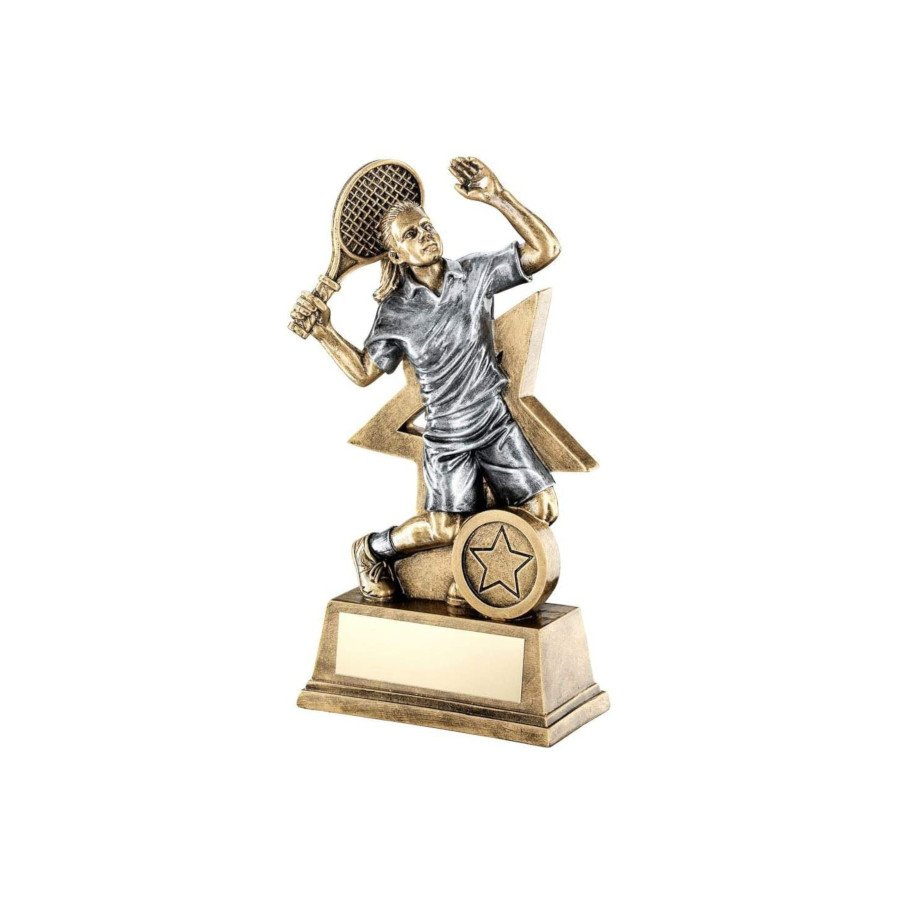 Bronze & Gold Tennis Trophy with Female Tennis Figure and Star Backing