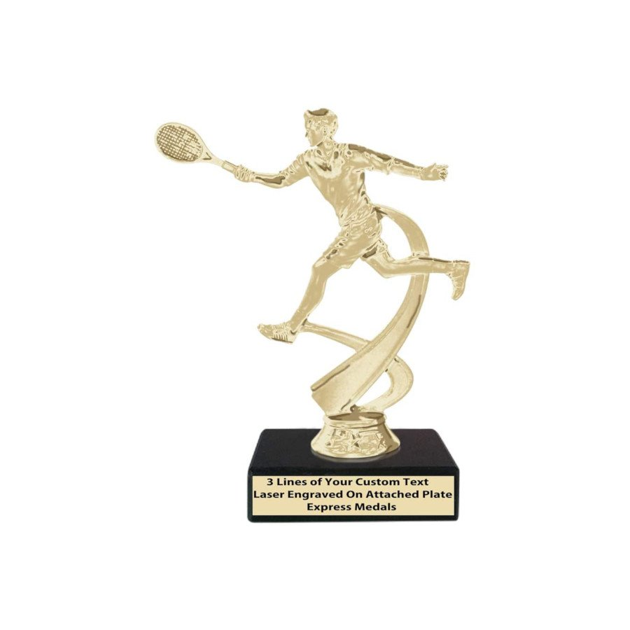 Champion Boys Tennis Trophy – Genuine Black Marble Base with Engraved Personalized Plate