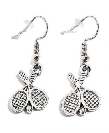 Dangling Silver Tennis Earrings