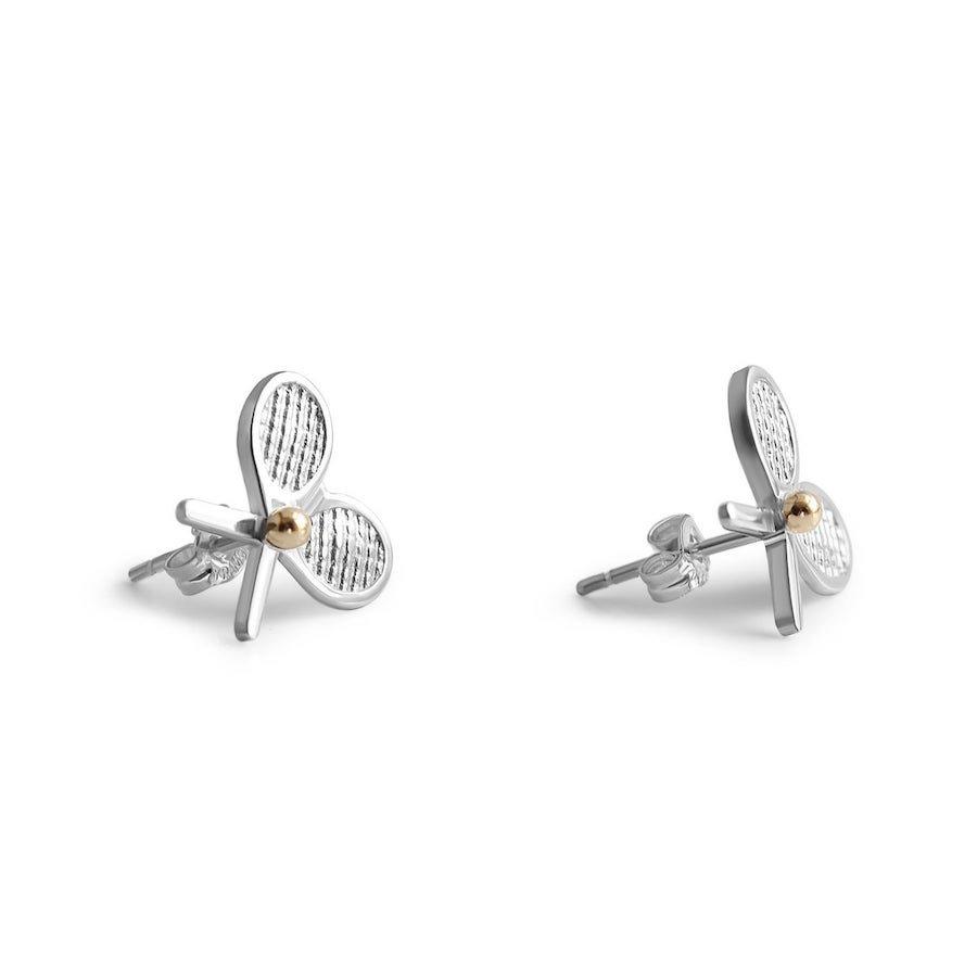 Double-racket silver stud tennis earrings with 14-karat gold tennis ball