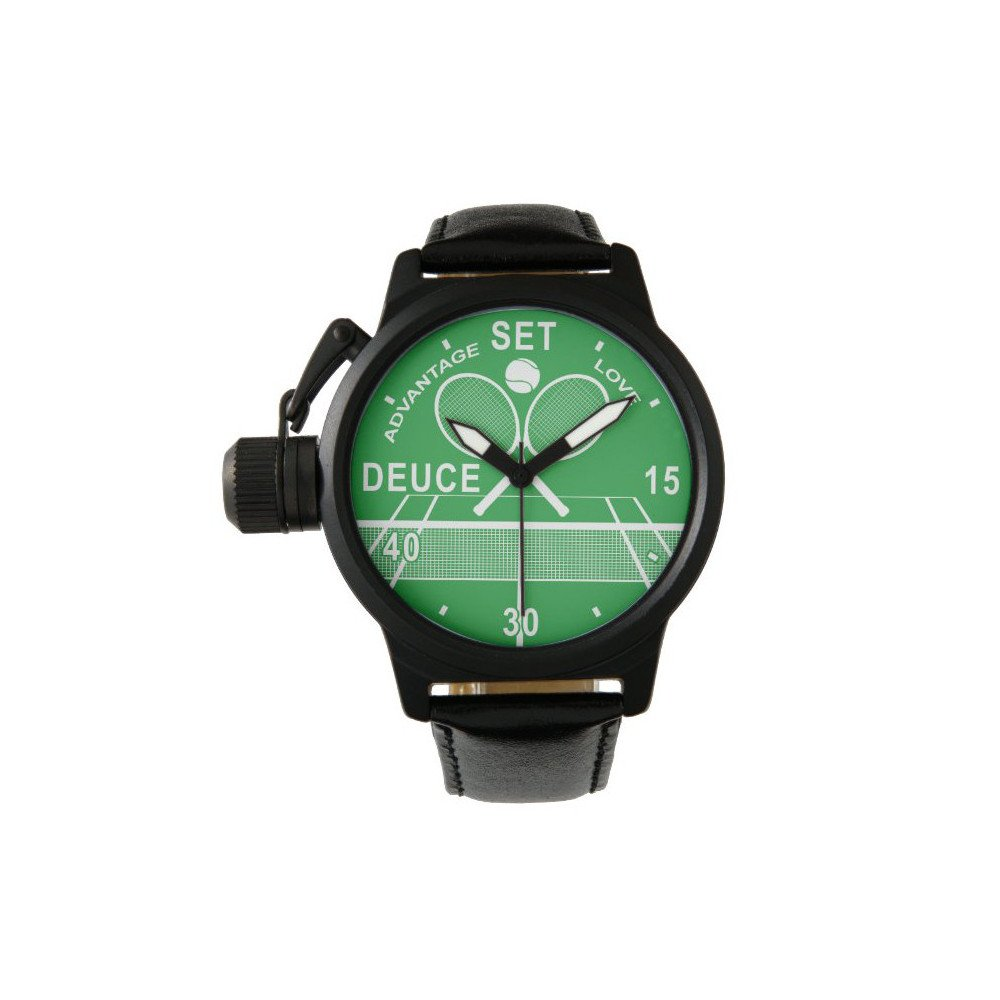 Men's Crown Protector Black Leather Strap Tennis Watch