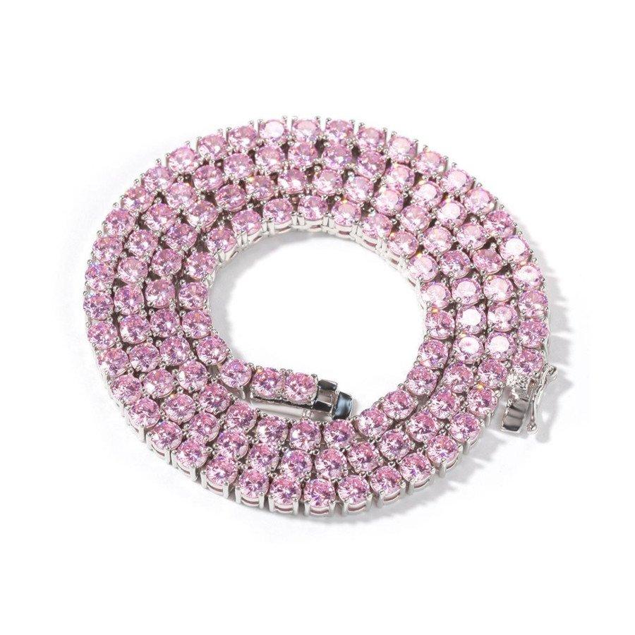 Pink Tennis Chain – White Gold