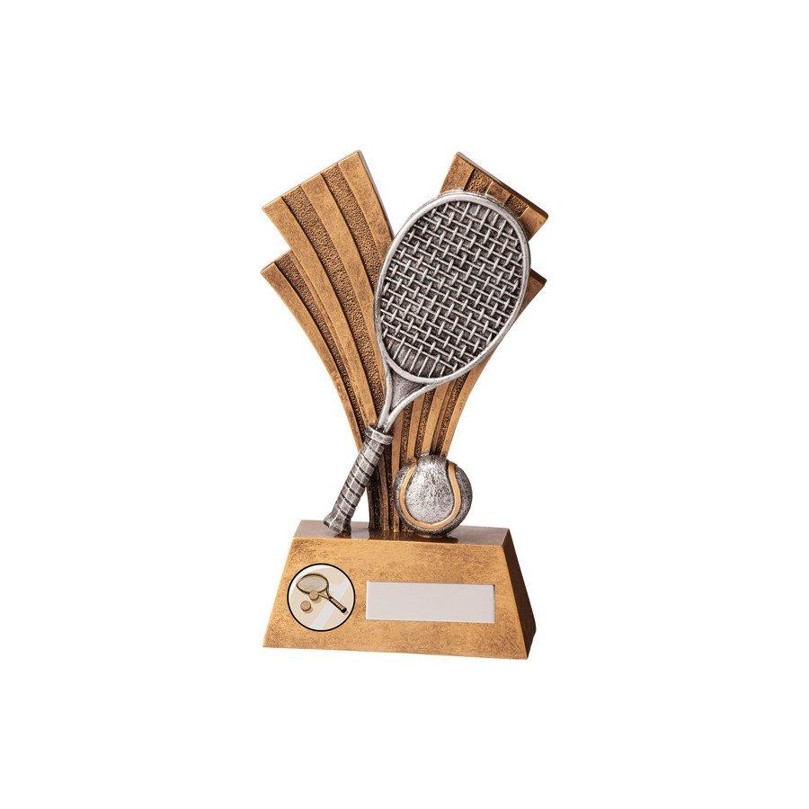 Resin Figurine Tennis Trophy with Tennis Racket & Ball