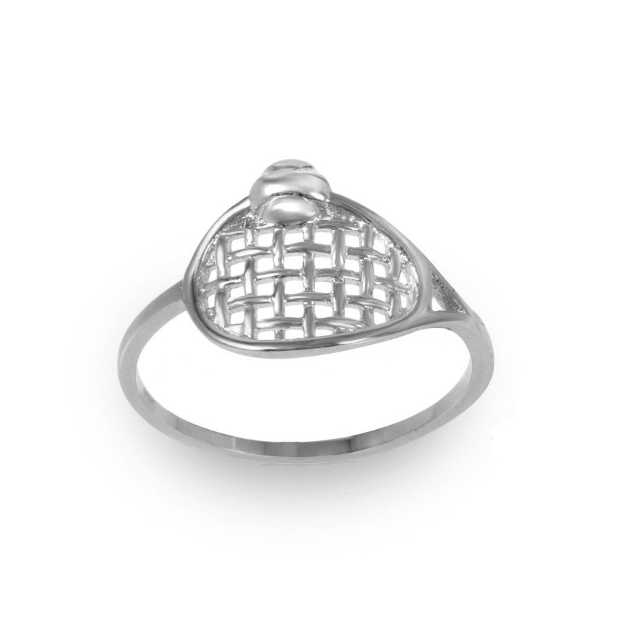 Rhodium-Plated Tennis Ring in Sterling Silver