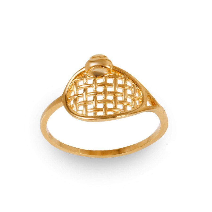 Rhodium-Plated Tennis Ring in Yellow Gold