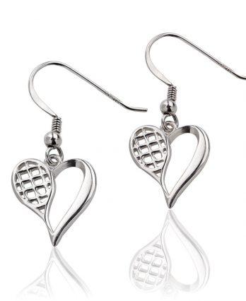 Sterling Silver Tennis Heart Earrings