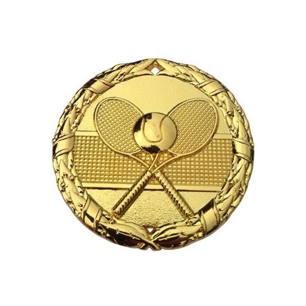 Tennis Gold Medal Trophy Award (2 inches) with Red, White & Blue Neck Ribbon