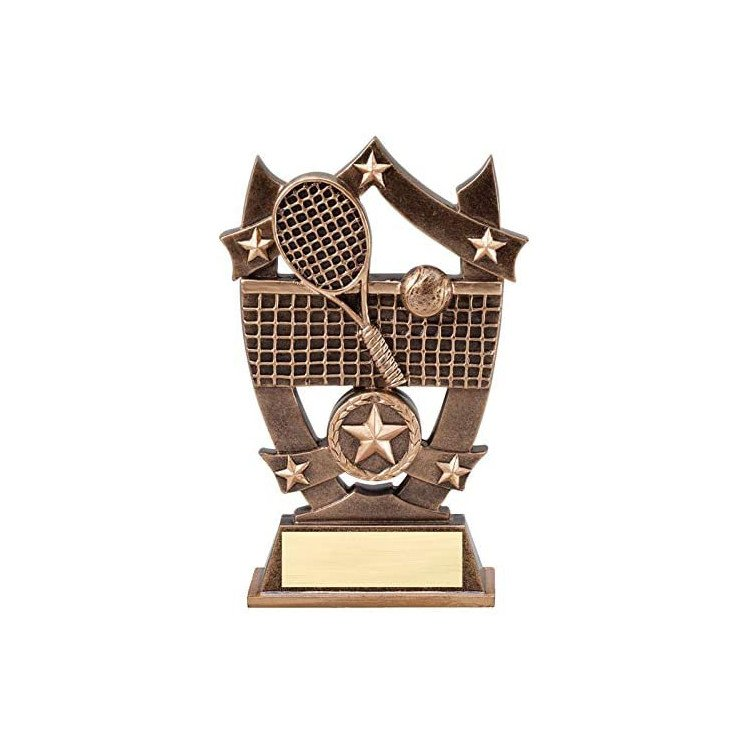 Tennis Trophy Award with Engraved Personalized Plate