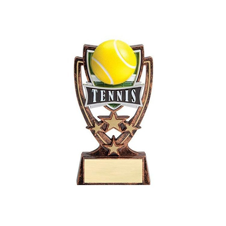 Tennis Trophy with Engraved Personalized Plate
