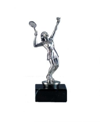 Tennis Trophy with Silver-Plated Bronze Statue and Sculpture of Female Player with Personalized Engraving