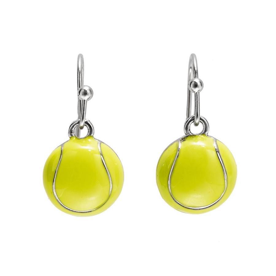 Tennis ball enamel dangle earrings