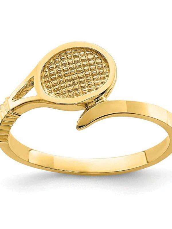 Tennis jewelry consisting of 14-karat yellow gold tennis racket ring