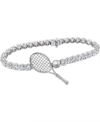 Tennis jewelry consisting of diamond tennis bracelet (Let's Play Tennis) - 18 Karat Gold
