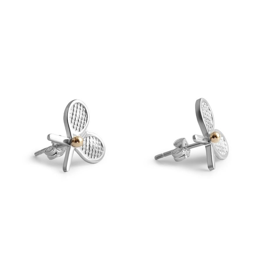 Tennis jewelry consisting of double-racket silver stud earrings with 14-karat gold tennis ball