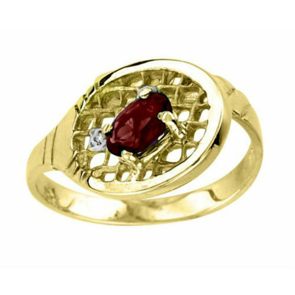 Tennis jewelry consisting of garnet & diamond tennis ring – 14K Yellow Gold