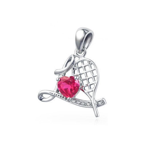 Tennis jewelry consisting of love tennis racket pendant (925 silver) with 6 small diamonds