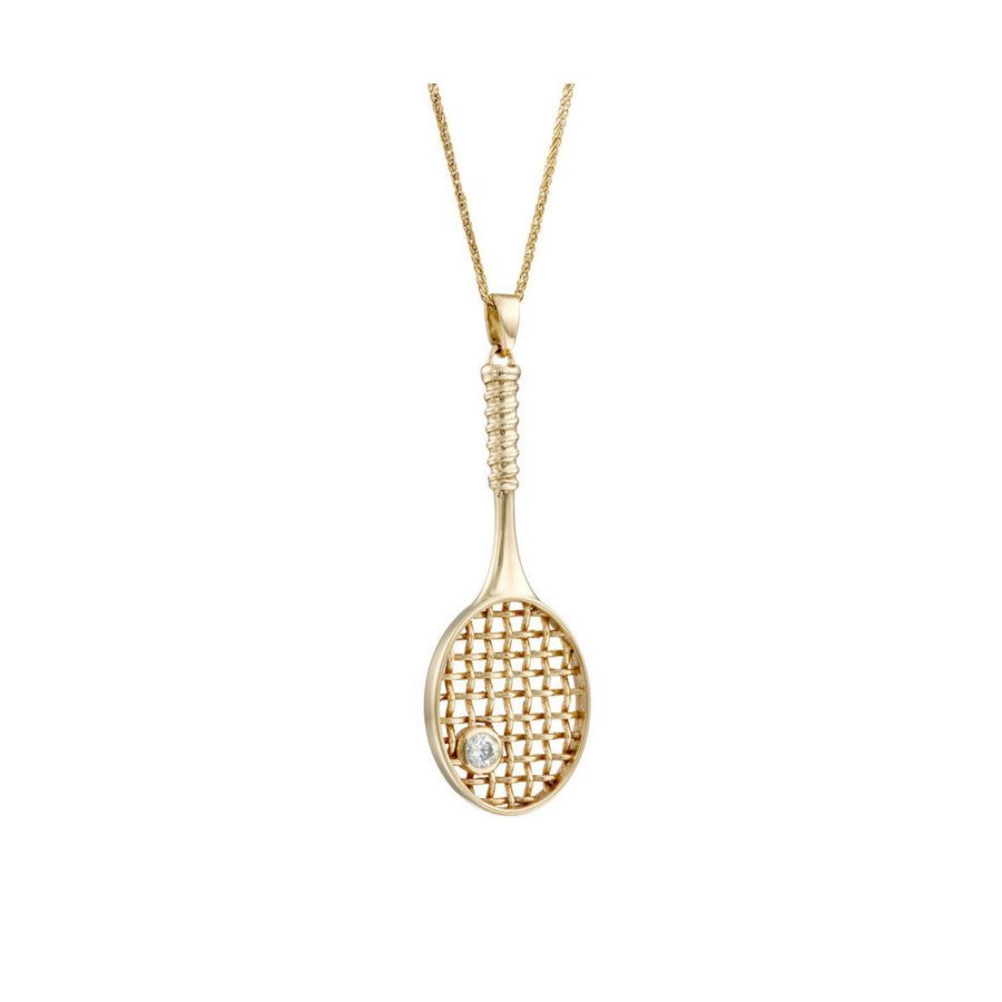 Tennis jewelry consisting of necklace with 14K gold tennis racket & diamond ball pendant