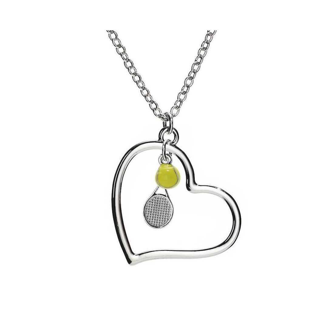 Tennis jewelry consisting of necklace with heart-shaped pendant together with tennis racket & yellow ball