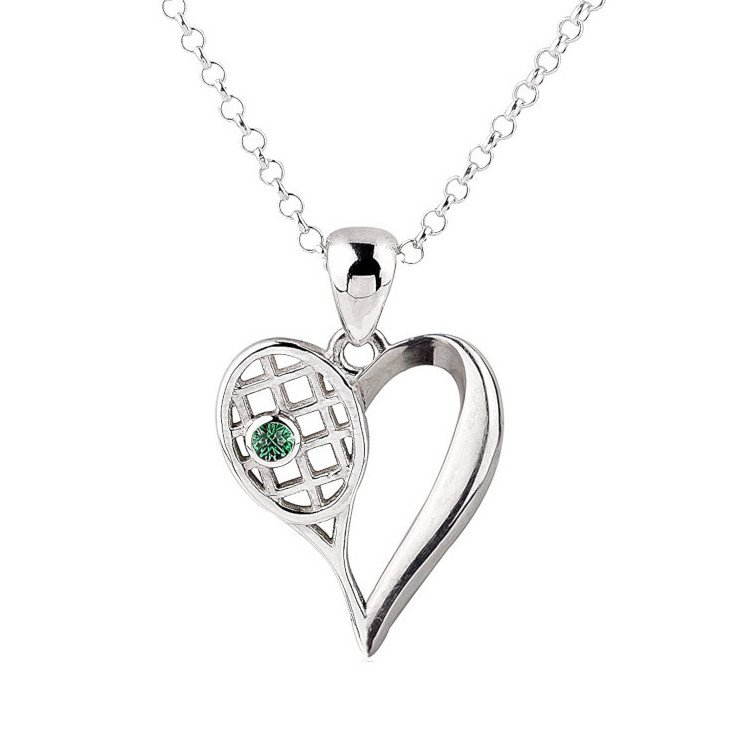 Tennis jewelry consisting of necklace with heart-shaped silver pendant and tennis racket (CZ & diamond)