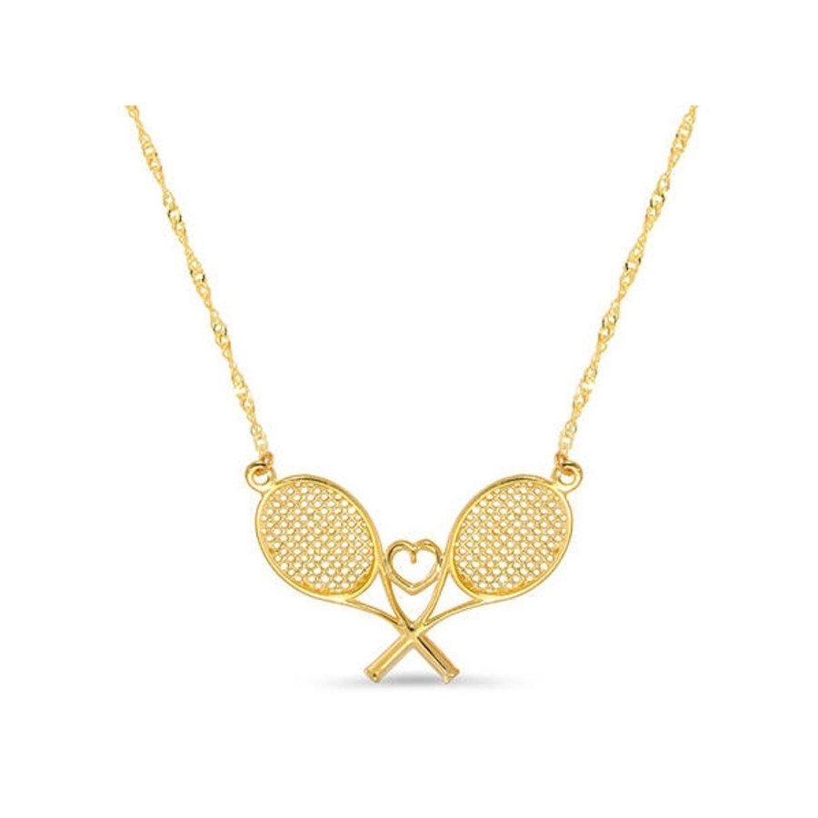 Tennis jewelry consisting of necklace with two rackets and heart in middle (14k solid gold)