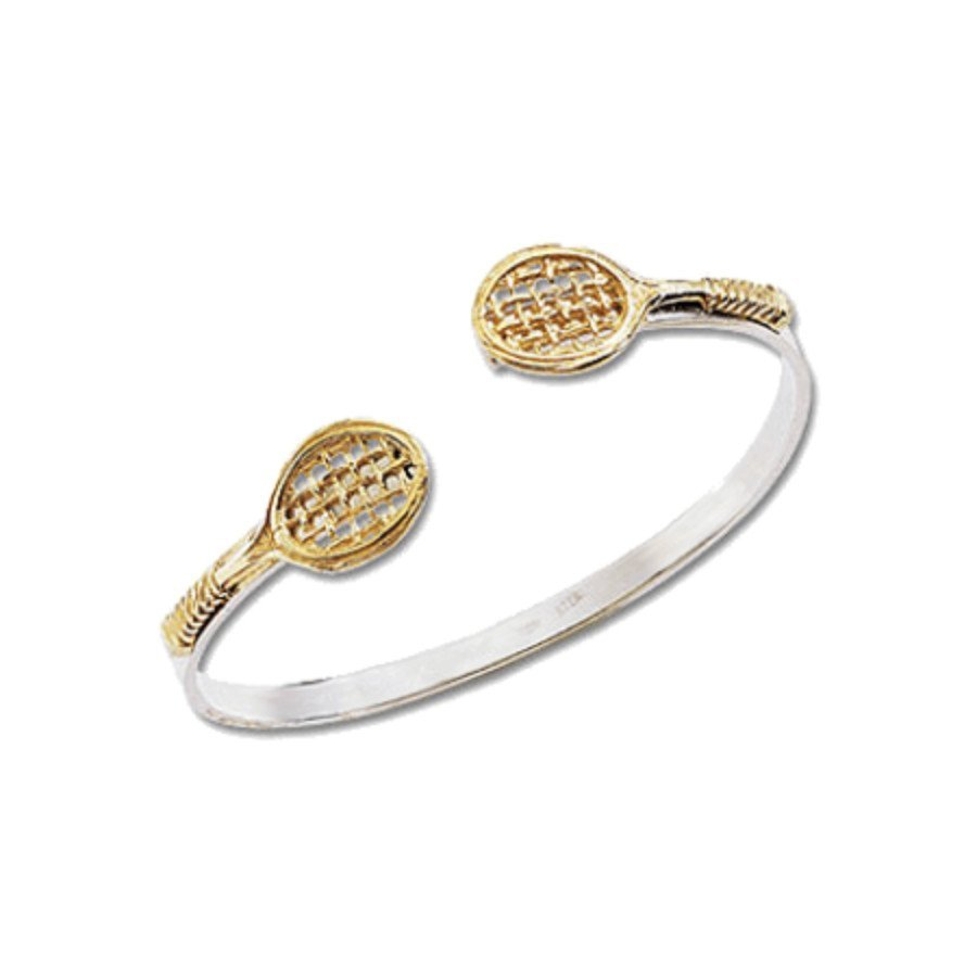 Tennis jewelry consisting of racket-shaped bangle tennis bracelet in silver with 14K gold rackets