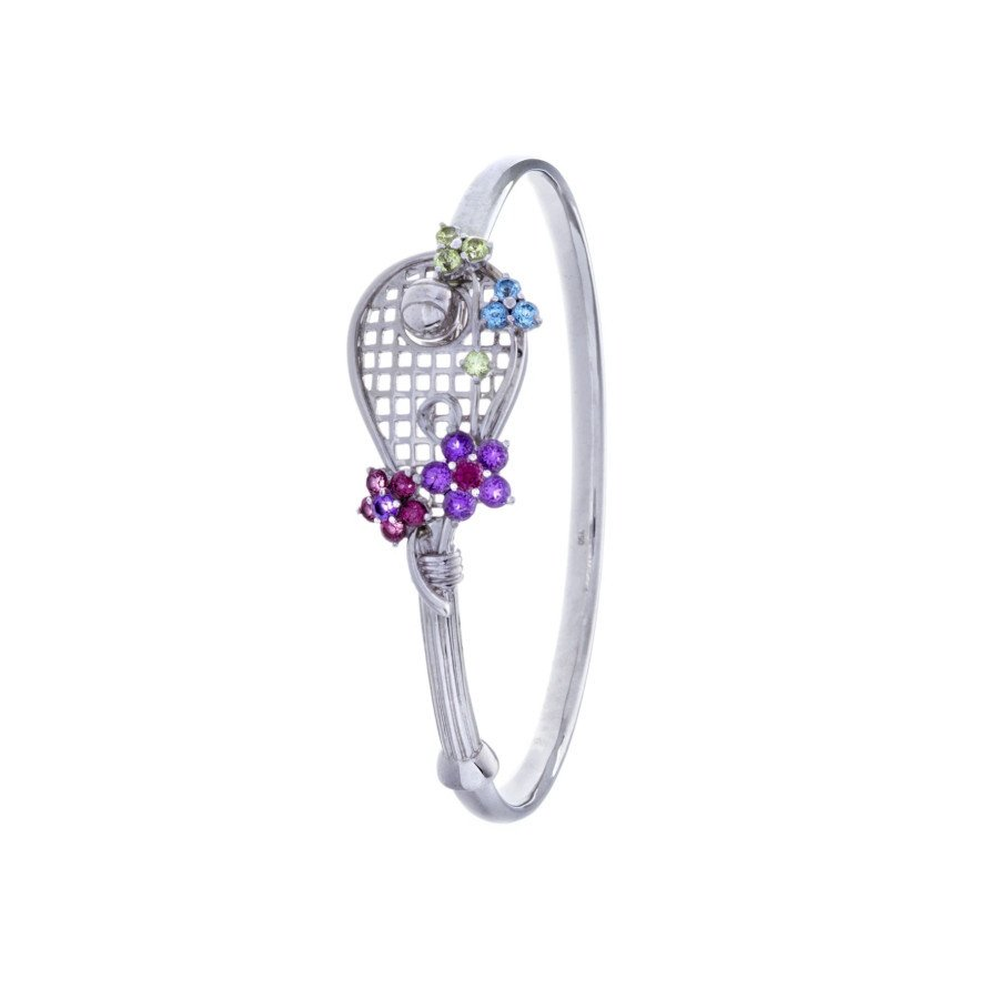 Tennis jewelry consisting of racket-shaped bracelet with ball (18K white gold and 19 gemstones)