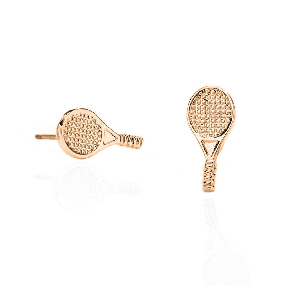 Tennis jewelry consisting of stud earrings with tennis rackets - 14k gold sterling silver