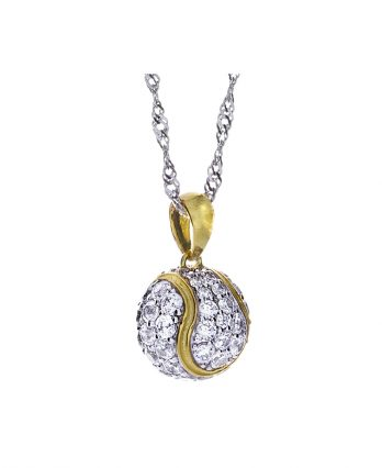 Tennis jewelry consisting of tennis ball pendant with CZs, 925 silver, and 18K micro plate yellow gold-plating