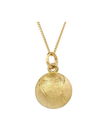 Tennis necklace consisting of 10K yellow gold tennis ball pendant
