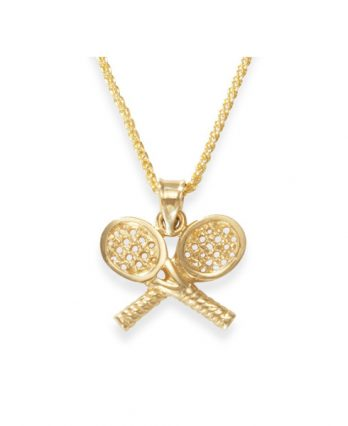 Tennis necklace consisting of 14K gold chain & pendant with two tennis rackets