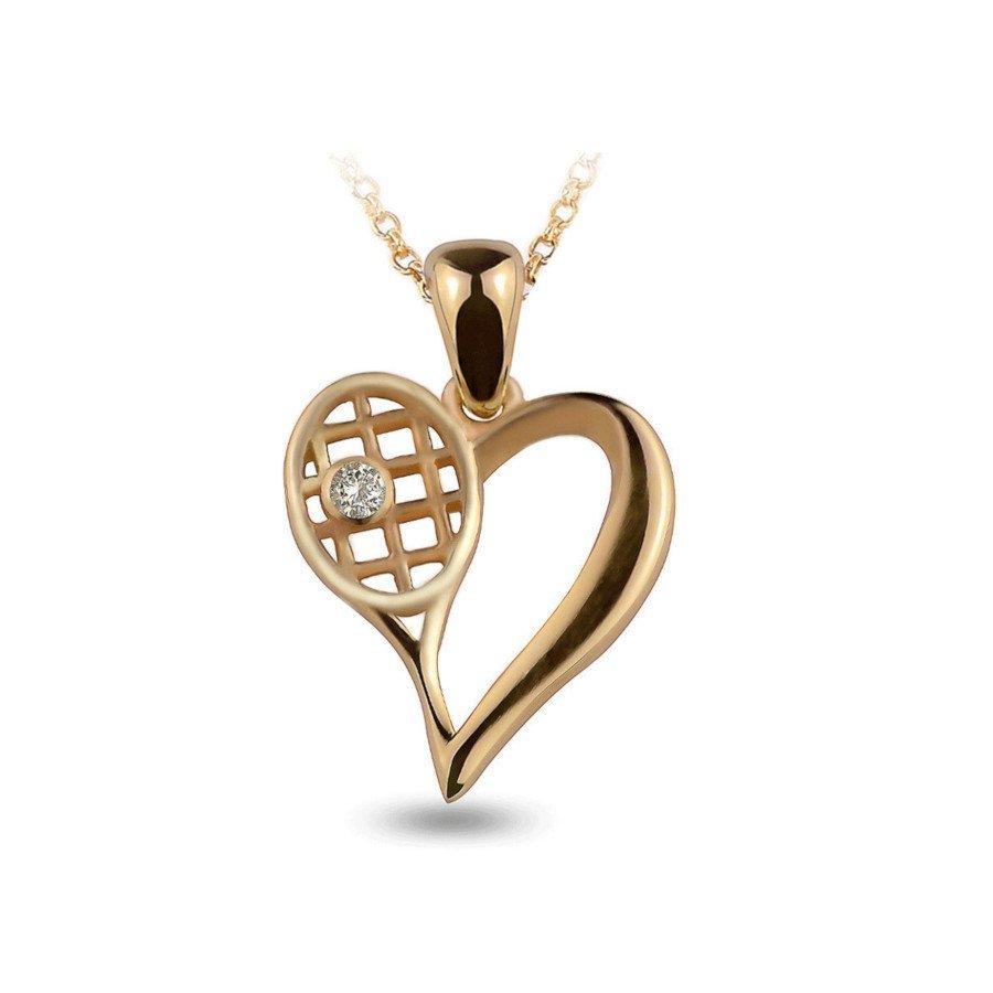 Tennis necklace consisting of gold diamond tennis heart & racket pendant