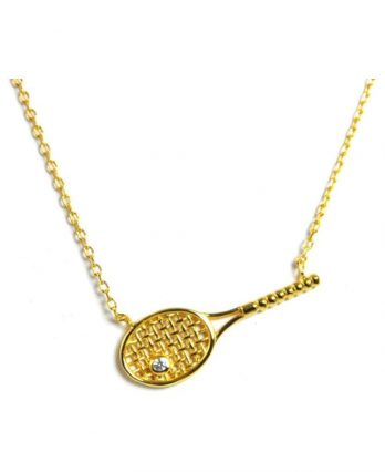 Tennis necklace consisting of pendant with 18k gold-plated tennis racket & crystal ball