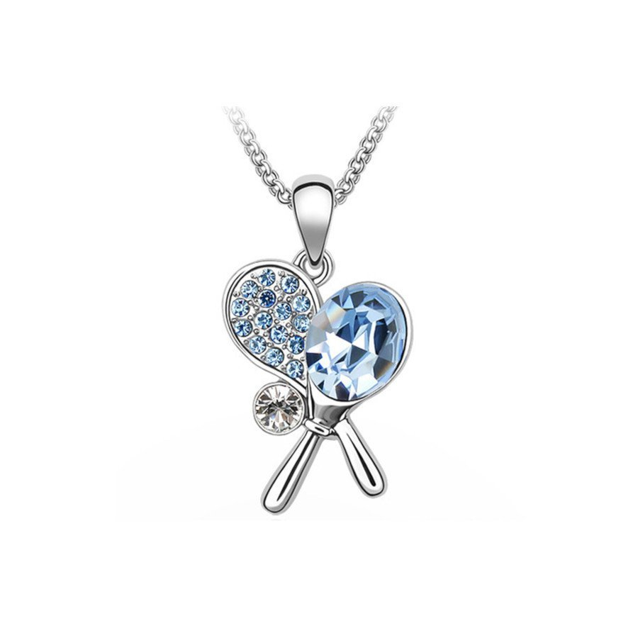 Tennis necklace consisting of pendant with blue crystal tennis rackets